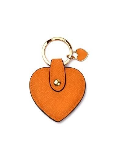 Leather & Paper Deri Kalp Anahtarlık Oranj